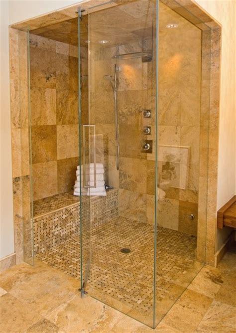 light stone tile frameless shower contemporary