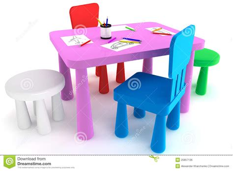 colorful plastic kid chairs and table royalty free stock