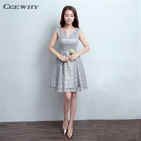 ceewhy gray sleeveless  opening knee length lace wedding