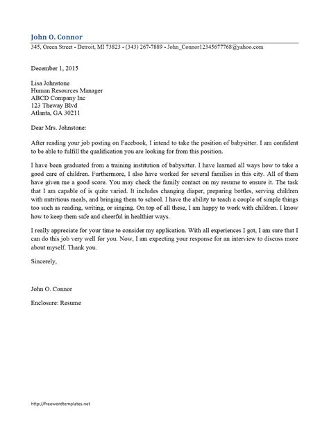 Cover Letter For Babysitting by Cover Letter For Babysitting Exles Professional