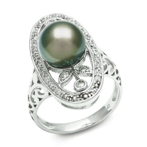 tahitian black pearl engagement ring just love the setting future wedding planning rings