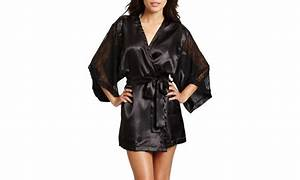 rene rofe satin robe with lace sleeves groupon With robe groupon