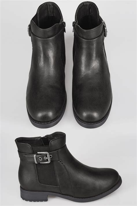Center Image In Div Black Chelsea Ankle Boot With Buckle Detail In Eee Fit