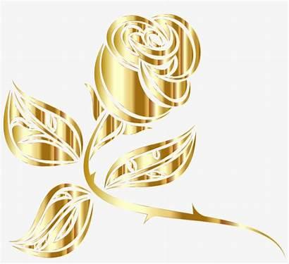 Gold Rose Flower Clipart Transparent Yellow Golden