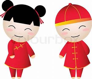Chinese girl-boy welcome on white background Vector