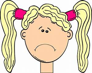 Sad Girl With Blonde Hair And Pigtails Clip Art at Clker ...