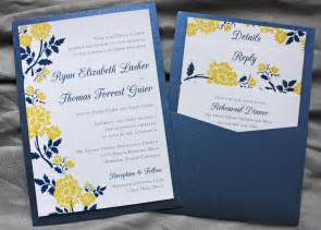 yellow wedding invitations navy blue yellow flower clutch pocket invitations save the dates emdotzee designs