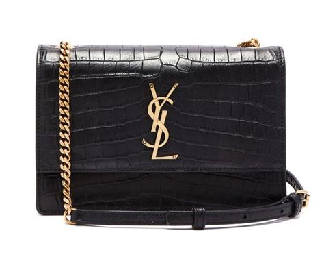 saint laurent monogram sunset medium croc embossed black
