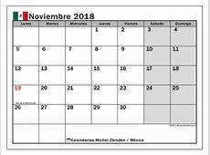 Calendario noviembre 2018, México Michel Zbinden es