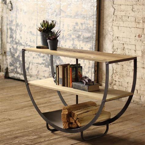 semi circle console   wooden shelves  metal