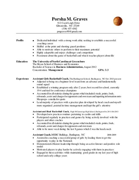 Basketball Player Resume by Coaching Resume Exles Basketball