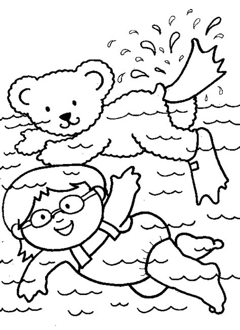 Swimming Coloring Page - Eskayalitim
