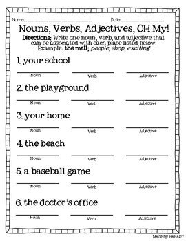 nouns verbs adjectives freebie by raradt teachers pay teachers