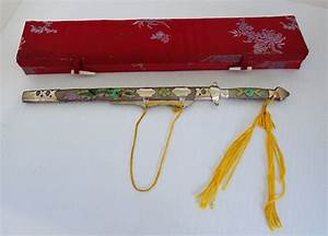 vintage chinese letter opener sword w sheath and box With vintage sword letter opener