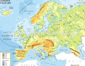 Europe Physical Map Rivers and Mountains