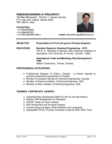 Mechanical Engineer Resume In And Gas Industry by R Prajapati Cv For Process Engineer For And Gas Website