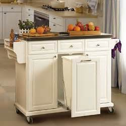 Kitchen Trolleys And Islands White Kitchen Cart With Trash Pull Organize Your Home White Kitchen Cart