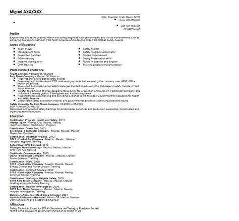 safety engineer sle resume
