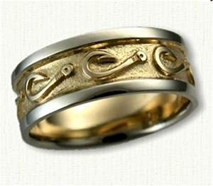 custom fish hook wedding band 8mm 14kt two tone gold With fishing wedding ring