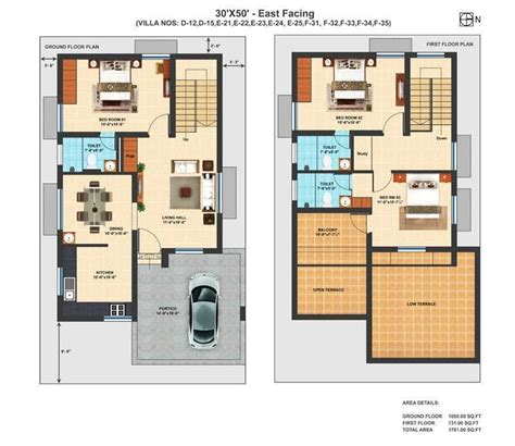 Villa Home Plans by Precious 11 Duplex House Plans For 30x50 Site East Facing