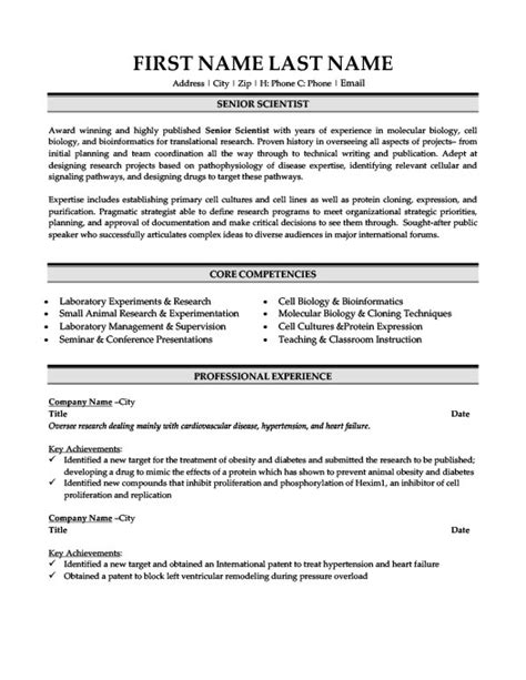 Senior Scientist Resume Exles by Vice President Of Development Resume Template Premium Resume Sles Exle