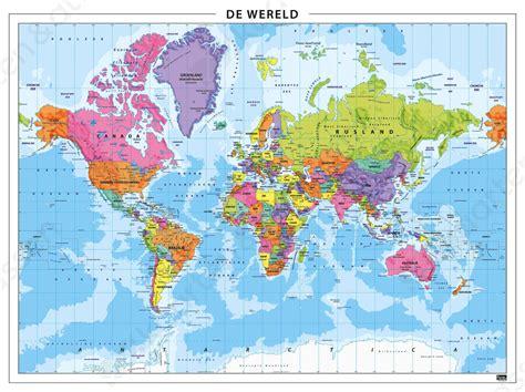 chambre atlas wereldkaart staatkundig 101 gelamineerd kaarten en