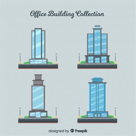 Collection of different types of office buildings Vector