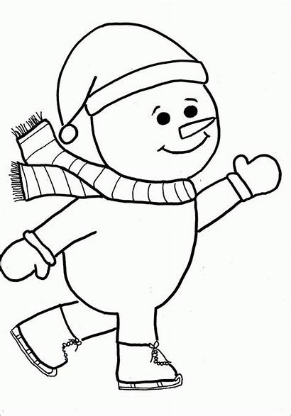 Snowman Coloring Template Pages Templates Printable Simple