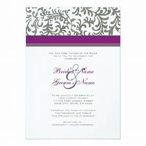 Purple and gray wedding invitation zazzle for Wedding invitations gray and lavender