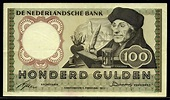 Dutch guilder banknotes 100 Gulden note of 1953 Desiderius ...