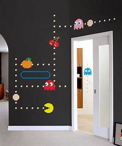 game room ideas With pacman wall decals gamers room ideas