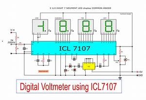 Digital Voltmeter Circuit Diagram Using Icl7107    7106 With Pcb