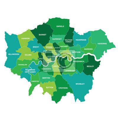 Karte von london, großbritannien googlekarte. Greater london karte zeigt alle bezirke leinwandbilder ...
