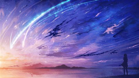 Wallpaper For Dual Screen Your Name Anime Scenery Comet Night Wallpaper 12485