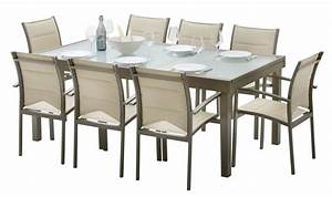 Salon De Jardin Beige : table jardin verre taupe ~ Teatrodelosmanantiales.com Idées de Décoration