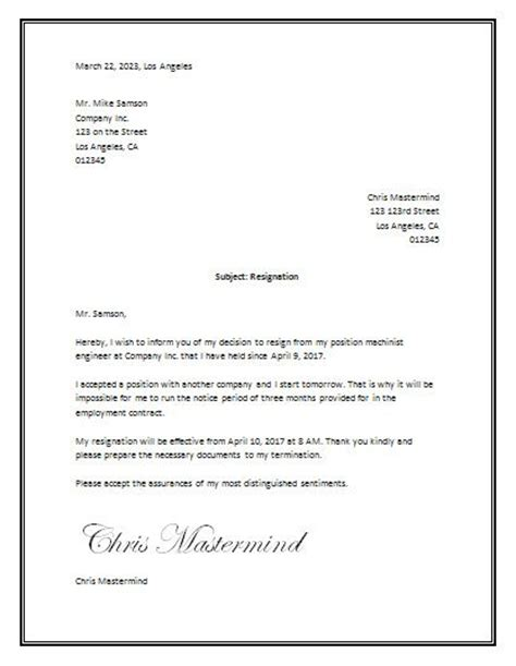 resignation letter template word 17 best ideas about sle of resignation letter on 7022