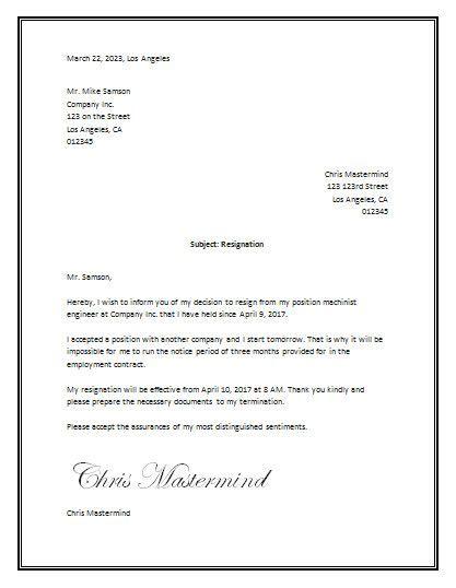 ideas  sample  resignation letter