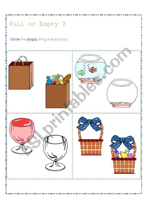 Basic Concept  Full  Empty  Esl Worksheet By Cantika