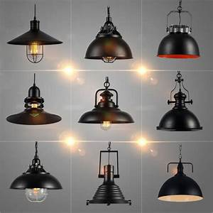 Industrial, Vintage, Pendant, Lights, With, E27, Edison, Bulb, American, Country, Style, Loft, Iron, Retro