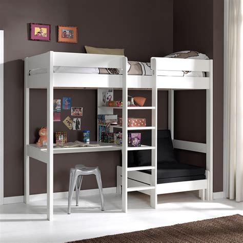 lit mezzanine avec fauteuil et bureau aubin en pin massif coloris blanc chambre de mathis