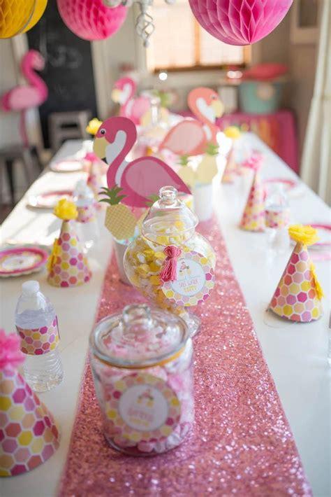 flamingo pink  yellow party table  flamingo