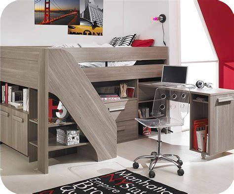 bureau lit mezzanine lit enfant mi hauteur auckland chêne cerisé 90x200 cm avec