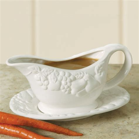 Gravy Boat Saucer by Gibson Home Fruit Gravy Boat With Saucer White