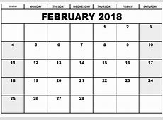 Free February 2018 Printable Calendar Template Free