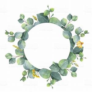 Watercolor Wreath With Silver Dollar Eucalyptus Leaves And ...