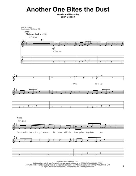 queen another one bites the dust guitar tab