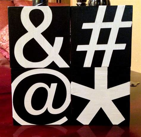 custom wood sign ampersand hashtag at symbol asterisk set of 4 typography hand painted
