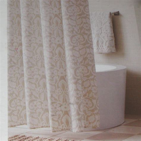 threshold soft floral shell beige fabric shower