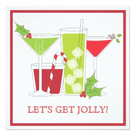 christmas cocktail party holly jolly christmas cocktail party invitation zazzle