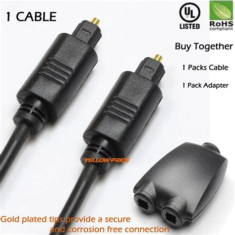 optical digital audio splitter 2 way adapter 3ft fiber optic audio toslink cable ebay